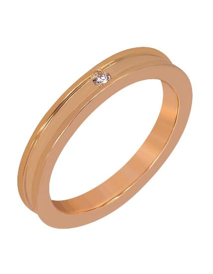 """Золотое обручальное кольцо 585 пробы с фианитом (15-000048814) """"Ювелирная карта"""""""