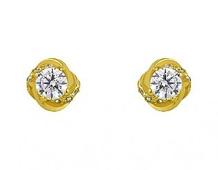 Золоті сережки з цирконіями 3б_с-078 фотографія