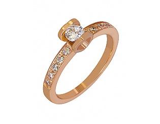 Золотое кольцо с цирконием куб. и фианитом 1б_к-026 фотография