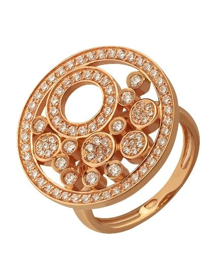 """Золотое кольцо 585 пробы с фианитами (15-000074783) """"Ювелирная карта"""""""