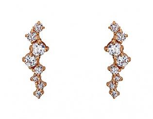 Золоті сережки з фіанітами і цирконієм куб. 1б_с-095 фотографія