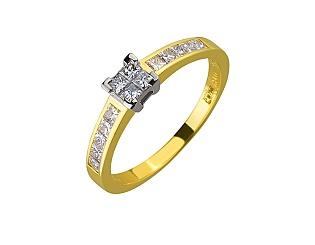 Золота каблучка з діамантами 01-17506394 фотографія