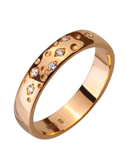 """Золотое обручальное кольцо 585 пробы с фианитами (15-000086295) """"Ювелирная карта"""""""