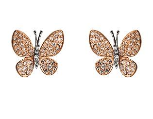 Золотые серьги с фианитами 4-с-1183 фотография