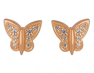 Золоті сережки з фіанітами 1с-138 фотографія