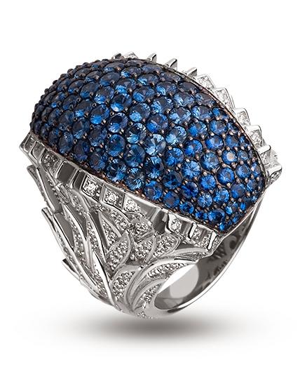 """Золотое кольцо 585 пробы с бриллиантами и сапфирами (15-000051297) """"Ювелирная карта"""""""