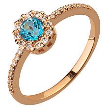 Золота каблучка з діамантами і топазом (1б_к-141)