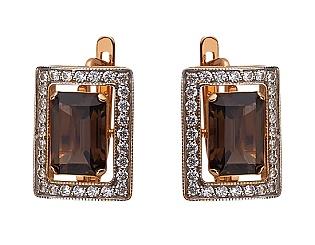 Золоті сережки з кварцом 01-17249397 фотографія