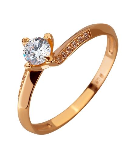 Золота каблучка з цирконієм куб. 01-17620797 фотографія 1