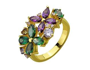 Золотое кольцо с топазами и фианитами 3б_к-159 фотография