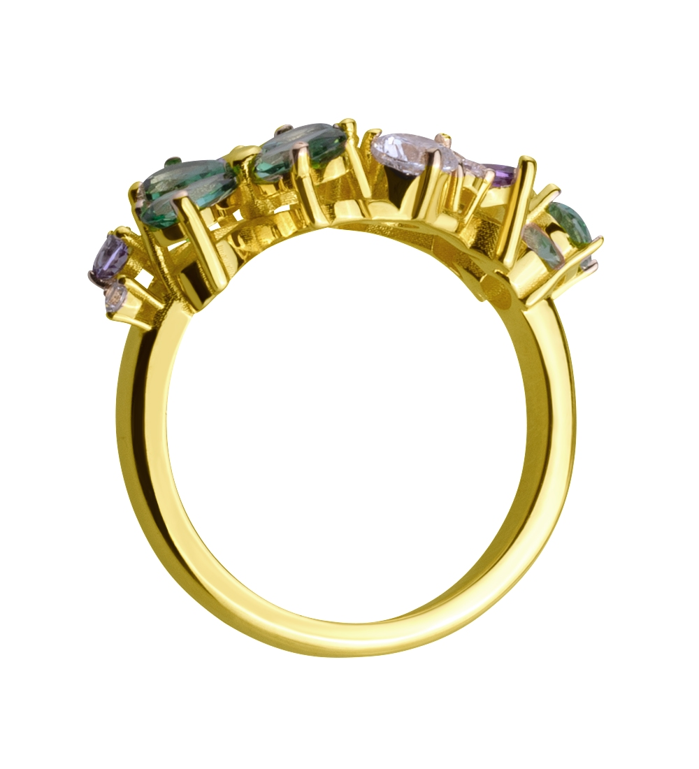 Золота каблучка з топазами і фіанітами 3б_к-159 фотографія 2