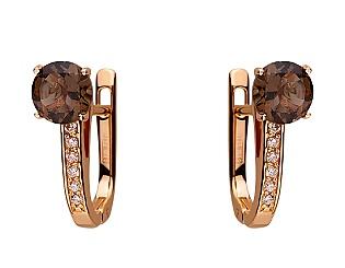 Золоті сережки з кварцом 01-17534098 фотографія