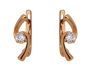 Золоті сережки з цирконієм куб. 01-17620898 фотографія