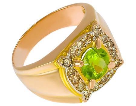 Мужские кольца с хризолитом
