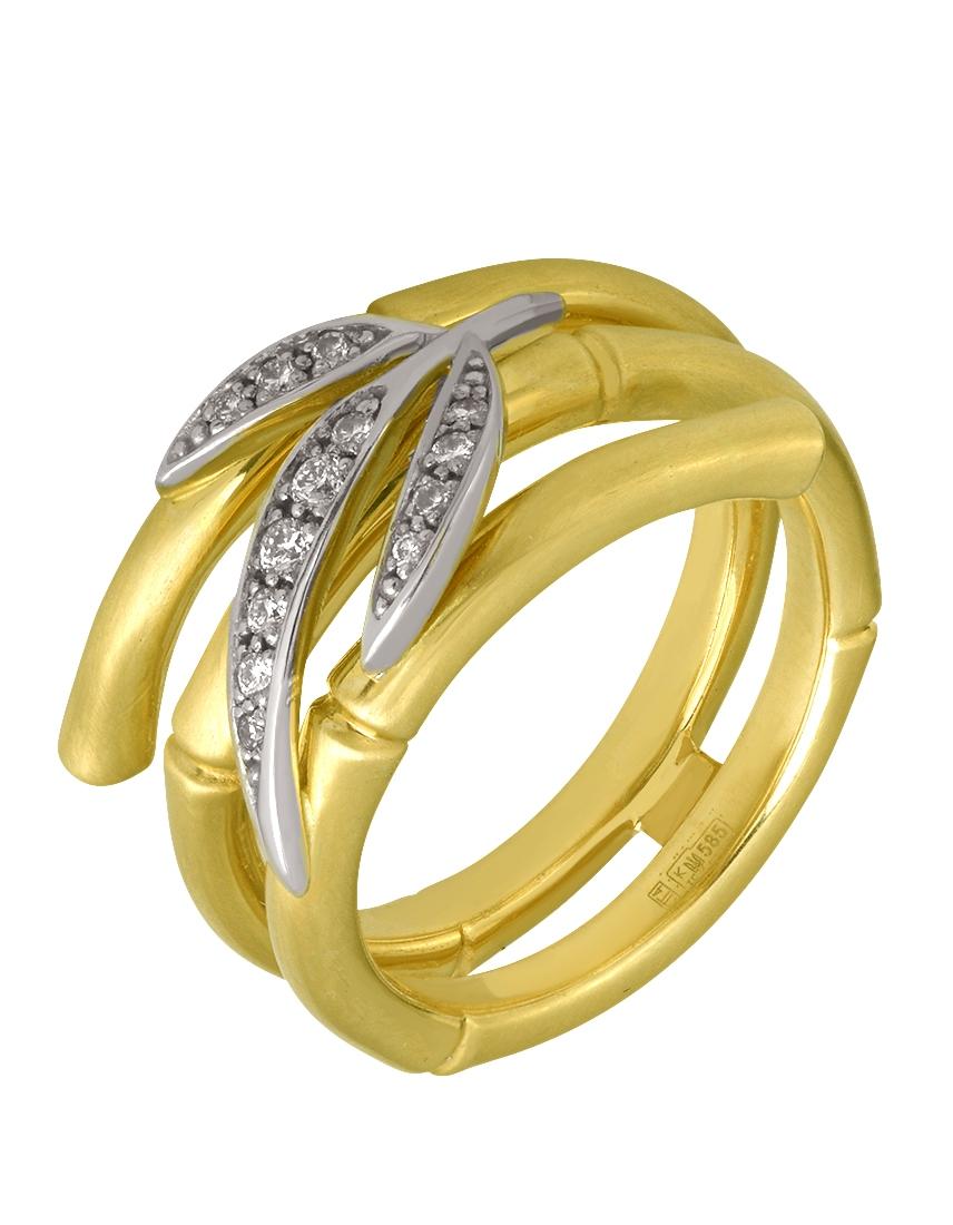 """Золотое кольцо 585 пробы с бриллиантами (15-000068751) """"Ювелирная карта"""""""