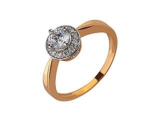 Золотое кольцо с цирконием куб. 01-17528499 фотография
